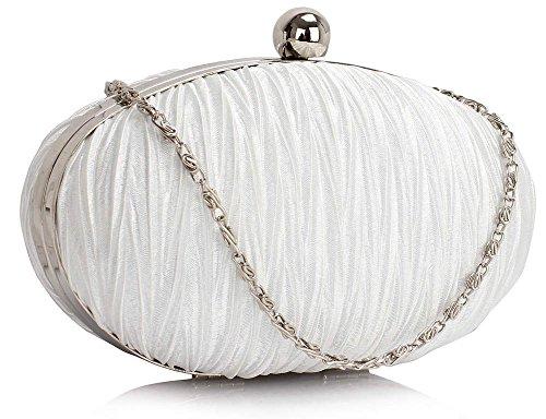 Bridesmaid Hardcase New Box Design Clutch Designer Women Bags Ruched Ladies 1 Handbag Ivory Evening Satin Design qnTwEvS
