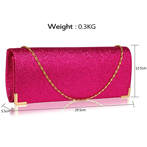 Women Clutch Long Unique Ladies Evening Bag Club Bridal Glitter New Wedding Party 1 Fuchsia Handbag Purse Design For Design 4tqgHw