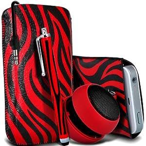Sony Xperia S Lt26i Protección Premium de Zebra PU tracción Piel Tab Slip In Pouch Pocket Cordón piel cubierta de la caja de liberación rápida, grande Zebra Stylus Pen & Mini recargable portátil de 3,5 mm Cápsula Viajes Bass Speaker Jack Rojo y Negro por Spyrox