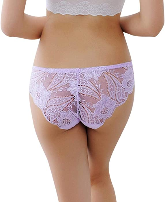 Lady Floral Lace Brief Panties Stretch Sheer Underpants Underwear Lingerie Comfy