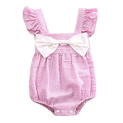 Infant Baby Girls Striped Romper Ruffle Sleeves Bowknot Jumpsuit Bodysuit Kids Summer Outfit Clothes (6-12 Months, Pink)