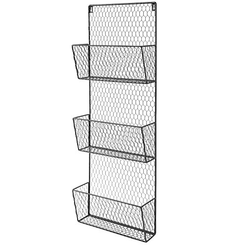 3-Tier Black Wall Mounted Metal Chicken Wire Mesh Mail So...