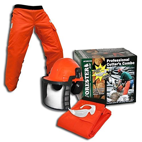 [ORANGE SAFETY CHAPS,, 3-Piece Combo Safety Kit ORANGE SAFETY CHAPS, HARD HAT, EAR MUFFS, GLASSES, 3-Piece Combo Safety] (Three Group Costumes)