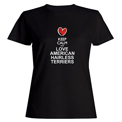 Idakoos Keep calm and love American Hairless Terriers chalk Maglietta donna