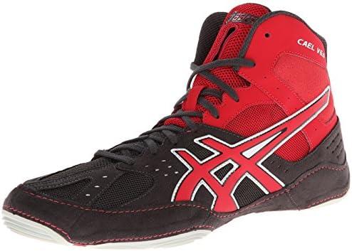 Asics Men's Cael V6.0 Wrestling Shoe, Charcoal/Fire Red/Silver ...