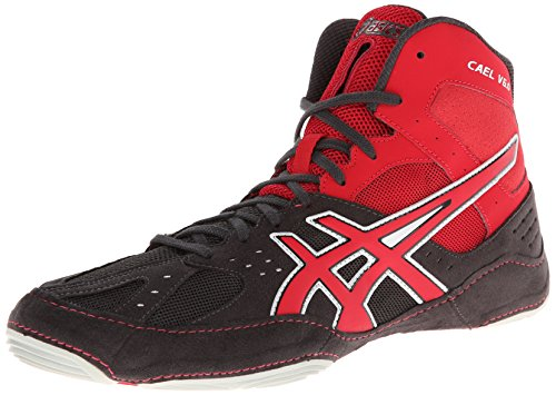 Asics Men's Cael V6.0 Wrestling Shoe,Charcoal/Fire Red/Silver,10 M US