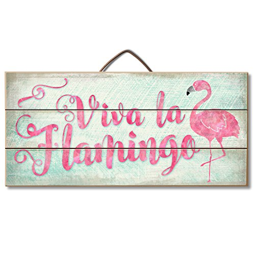American Woodcrafters Viva La Flamingo Pallet Wood Sign, 12 x 6 inches