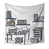 Modern Dormitory Tapestry Recording Studio with Music Devices Turntable Records Speakers Digital Illustration Art Tapestry 47W x 47L InchCadet Blue