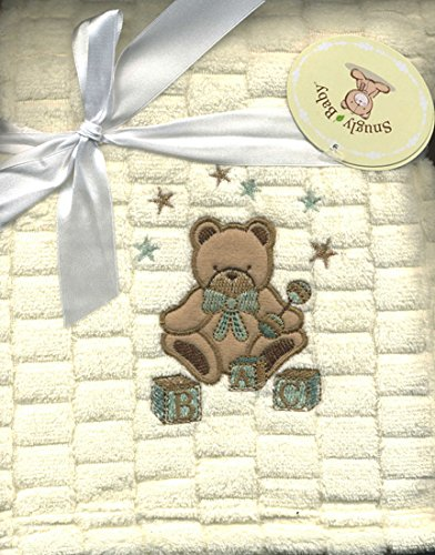 ABC Teddy Bear Embroidered Plush Baby Blanket Cream Color ()