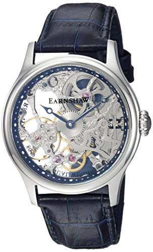 Thomas Earnshaw Men's 'Bauer Mechanical Skeleton' Mechanical Hand Wind Stainless Steel and Leather Dress Watch, Color:Blue (Model: ES-8049-06)