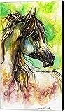 ''The Rainbow Colored Arabian Horse'' by Angel Ciesniarska, Canvas Print Wall Art, 24'' x 36'', Black Gallery Wrap, Glossy Finish