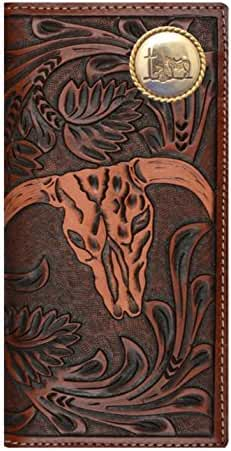 Custom 3D Belt Company Praying Cowboy Church Long Rodeo Brown and Tan Cow Skull Wallet