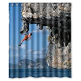 Amazing Sports Cool Man Climbing Under the Cliff- Fashion Personalize Custom Bathroom Shower Curtain Waterproof Polyester Fabric 60(w)x72(h) Rings Included