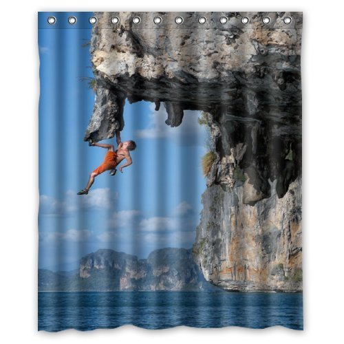 Amazing Sports Cool Man Climbing Under the Cliff- Fashion Personalize Custom Bathroom Shower Curtain Waterproof Polyester Fabric 60(w)x72(h) Rings Included by Fashion Designed Shower Curtain