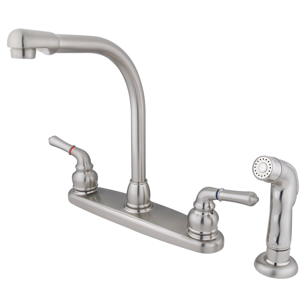 Elements of Design Magellan EB758SP High Arch Kitchen Faucet with Sprayer Brushed Nickel 8-Inch