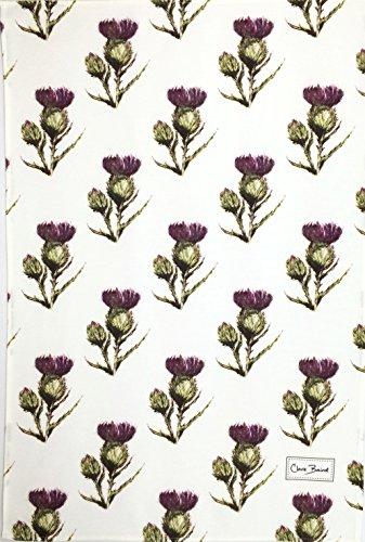 Flower of Scotland Pattern Tea Towel in a Scottish Thistle Design