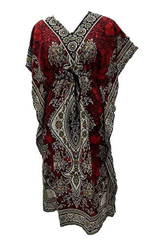 Women's Long Kaftan Dress Maxi Caftan Dress Gown Top Night Dress Red ()