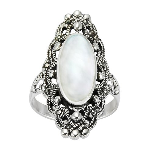 Chuvora 925 Sterling Silver 30 mm Filigree Genuine Marcasite and Natural Mother of Pearl Ring - Size 9