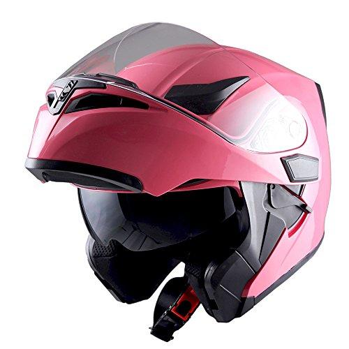 d2cf1cd2 1Storm Motorcycle Modular Full Face Helmet Flip up Dual Visor Sun Shield:  HB89 Glossy Pink