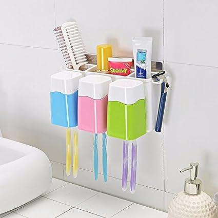 CNBBGJ Porta Cepillo de dientes con fuerte ventosa y baño cepillo colgantes bastidor,UN