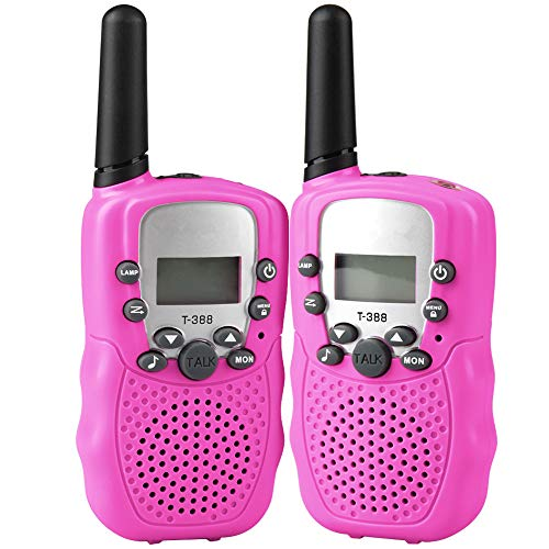 ALANGDUO Walkie Talkie for Kids, 22 Channel LCD Display Mini Kids Walkie Talkies 2 Way Radio Toys for Kids Children, 2Pack (Pink)