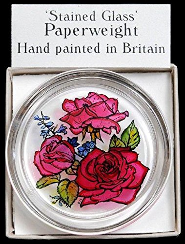 Decorative Hand Painted Stained Glass Paperweight in a Red Roses Design