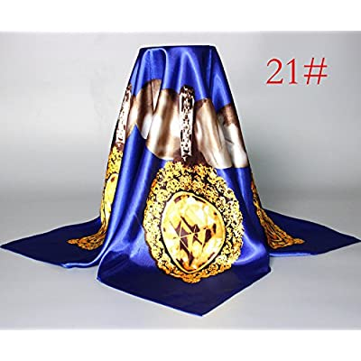 FLYRCX Mode de dames soie douce imitation satin foulard foulard en soie châle multi-fonctions 90cmx90cm