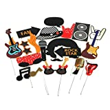 Rock Star Party Photo Booth Props Western Society Culture Jazz Music Party Decorations Accessories 18 Pieces SUNBEAUTY