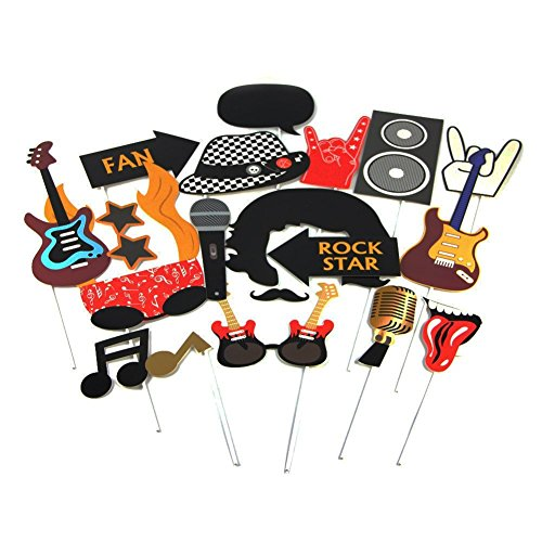 Rock Star Party Photo Booth Props Western Society Culture Jazz Music Party Decorations Accessories 18 Pieces SUNBEAUTY -