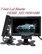 Padarsey 7 inch Monitor HDMI - 1024x600 HD TFT LCD Screen Display AV VGA Input Built in Speaker for Raspberry Pi 3 Model B+ 3B CCTV Computer PC DVR Car