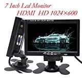 Padarsey 7 inch Monitor HDMI - 1024x600 HD TFT LCD Screen Display AV VGA Input Built in Speaker Raspberry Pi 3 Model B+ 3B CCTV Computer PC DVR Car