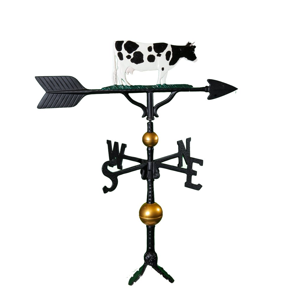 Montague Metal Products 32-Inch Deluxe Weathervane with Color Cow Ornament