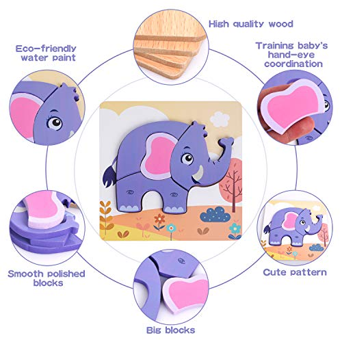 XREXS Wooden Jigsaw Puzzles for Toddlers, Bright Color Animal Shapes Puzzles Educational Learning Toys Gift for Babies Boys Girls 4 Packs