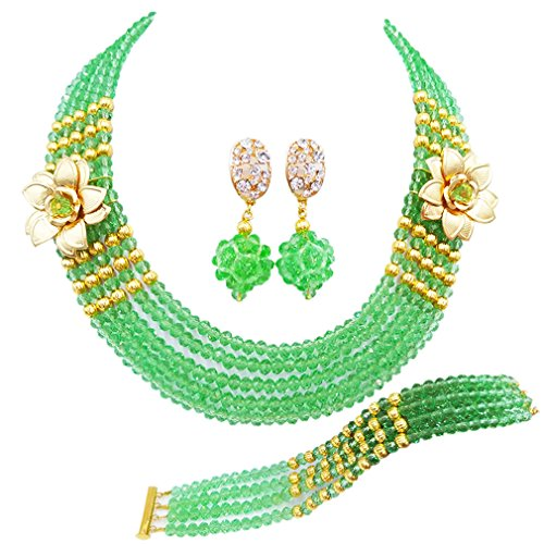 laanc 5 Rows Multicolors African Beads Jewelry Set,nigerian Wedding Beads Jewellery Sets A-022A (Light -