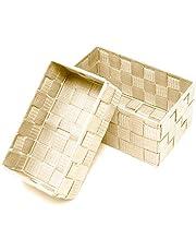Lashuma Dwupak koszyków łazienkowych, mały kosz 19 x 10 x 7 cm, duże pudełko do przechowywania 20 x 13 x 10 cm, możliwość układania w stos