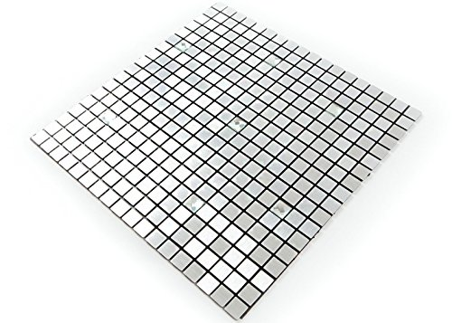 ROSEROSA Peel and Stick Tile Metal Backsplash for Kitchen, Wall Tiles Aluminum Surface : Pack of 5 (Metal-406) by ROSEROSA