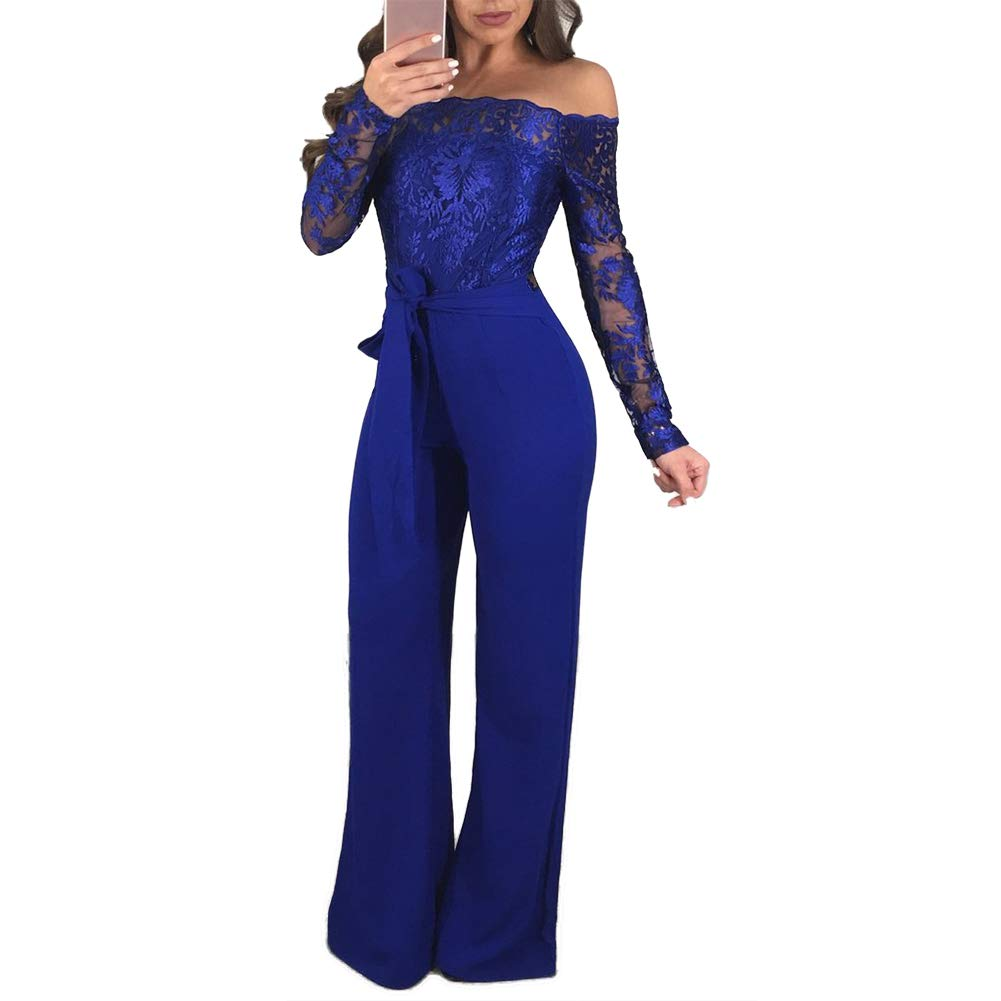 2192b36e4d Ss-Lqlhy Fashion Lace Off-Shoulder Long Sleeve Wide Leg Cocktail Party  Women Jumpsuit at Amazon Women s Clothing store