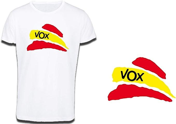 MERCHANDMANIA Camiseta Tacto ALGODÓN Partido VOX Bandera ESPAÑOLA ...