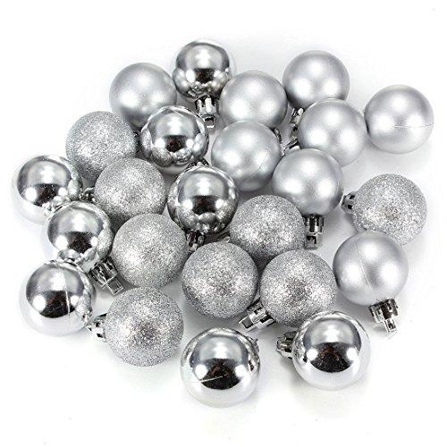 Ornament Ball - SODIAL(R)24Pcs Chic Christmas Baubles Tree Plain Glitter XMAS Ornament Ball Decoration Silver