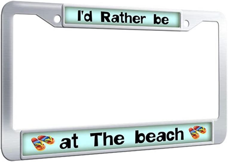 I/'d Rather be at The Beach Palm Tree Design  Stainless Steel Black Car License Plate  Frame Auto Tag Holder