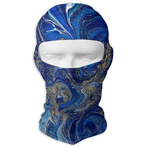 Balaclava Blue and Gold Liquid Texture Full Face Masks UV Protection Ski Cap Womens Neck Warmer for Motorcycle]()