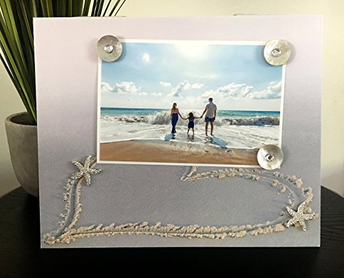 Heart in Sand - Beach Family Vacation Tropical Kids Hawaii Starfish Handmade Gift Present Home Decor Magnetic Picture Frame Size 9 x 11 Holds 5 x 7 Photo by Frame A Memory