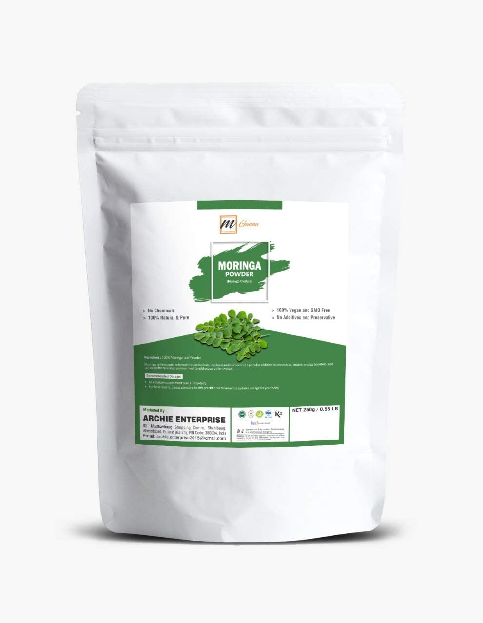 Natural 0.55 lbs Moringa Oleifera Leaf Powder Sun-Dried Multivitamin Antioxidants All Natural Energy Boost Raw Superfood Great in Green Drinks, Smoothies Immune Vitamin and Minerals