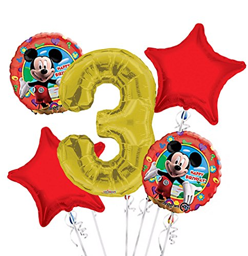 Mickey Mouse Balloon Bouquet 3rd Birthday 5 pcs