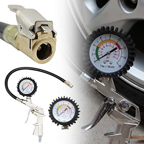 ☀ Dergo ☀ Dial Tire Inflator Gauge Flexible Hose 220 PSI Pistol Style Air Chuck -