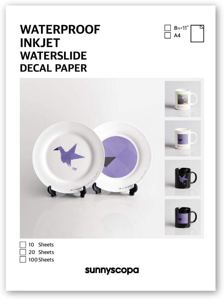 12 FOGLI A4 WATERSLIDE DECAL PAPER CARTA PER DECALCOMANIA BASE WHITE STAMPA INKJET /& LASER