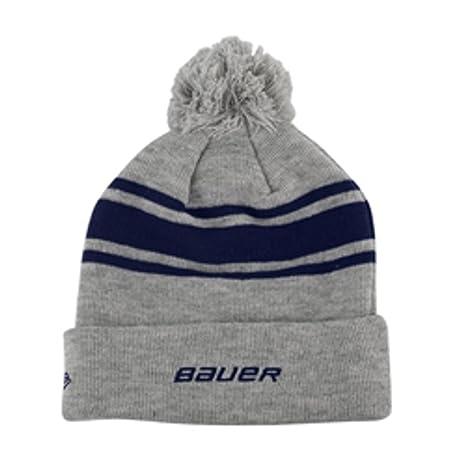 Amazon.com  Bauer New Era Team Striped Pom Pom Knit Hat - Navy ... 1c7fd097515