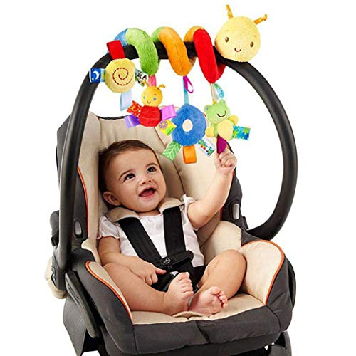 Aliturtle New Crib Toy Kid Infant Baby Activity Spiral Wrap Around Crib Bed Bassinet Stroller Rail Toy Hanging Toys Mobile Spiral Plush Toys for Crib Bed Stroller Car Seat Bar