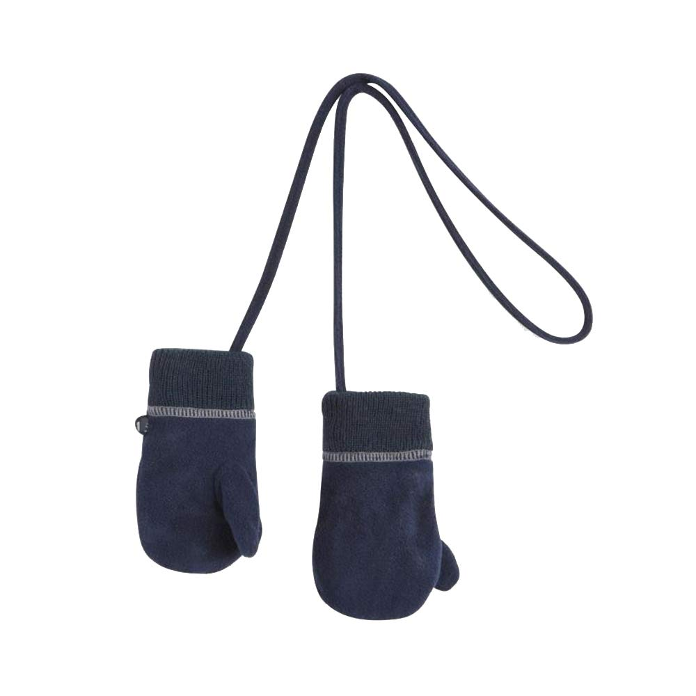 Xiaolin Children's Gloves Autumn and Winter Warm and Delicate Mittens Tether Halter Gloves Soft Knit Double Gloves (Color : Blue, Size : S)