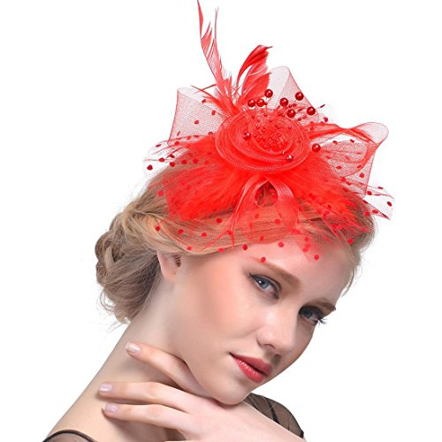 Fasker Fascinator Hat Flower Feathers Hair Clip Cocktail Tea Party Hats Mesh Net Head Accessories and Kentucky Derby Headwear for Women